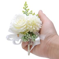 Flower Wrist Corpetto Boutonniere Handmade Braccialetto Rosso Rosa Pink Peony Rose Corsages Wedding Damigella d'onore Damigella d'onore Suit Decor GGA4377