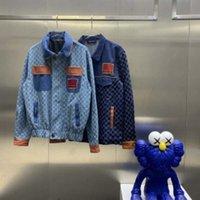 21SS 남자 인쇄 티셔츠 디자이너 파리 데님 자켓 더블 문자 레이블 옷 짧은 소매 망 셔츠 태그 문자 블루 05
