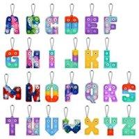 2022 Chirstmas Alphabet Letters Pop Push Push Key-Catena Catena Partito Preferimento Cultura del telefono cellulare Lettera Silicone Lettera Sensoriale Bolle Sensorie Portachiavi Simple Dimple