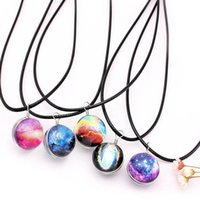 Fashion Dreamy Starry Nebula Space Galaxy Universe Necklace Double-sided Glass Ball Pendant Black Letter Chain Necklaces Women Girls Gift