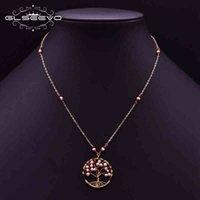 GLSEEVO Оригинальный дизайн натуральный жемчуг красный стеклянный дерево кулон BOHO ожерелье женщины регулируемые украшения для лучшего друга GN0213