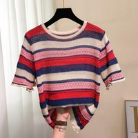 Colorful Horizontal Stripes Short-sleeved Sweater Women Fashion Cutout Hong Kong Flavor Loose Knitted Pullover Jumpers Women's Sweaters