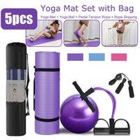 5 stücke sport fitness yoga ball set beinhaltet 65 cm fitball pilates balance gym üppig 10mm matte pedal ttesion seil