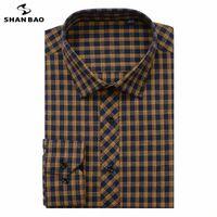 Shan Bao Marque Chemise pour hommes 6XL XL 8XL 9XL 10XL Taille surdimensionnée 2020 Automne Automne Hiver épais Plaid Jeunesse Mode Casual Loose Shirt O5YZ #