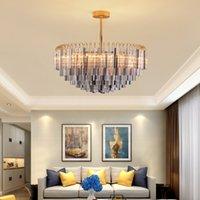 60cm 80cm 100cm modern fashion  round smoky crystal chandelier lighting contemporary pendant lamp for duplex hotel villa living dining room bedroom