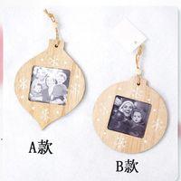 Christmas Decorations Sublimation Blanks Pendant DIY Photo Pendant Wooden Photo Frame Christmas Gifts Xmas Tree Ornament DWE8717