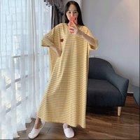 Plus Size 6XL Cotton Nightwear Womens Sleepwears Sleep Dress Short Sleeve Homewear Nightdress Long Nightgown Striped Home Dressing Gown