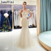 Janevini luxo ouro longo vestidos de baile 2021 frisado de cristal sereia gala vestido de noite Jurk Lang Rhinestones Pearl Party Vestidos
