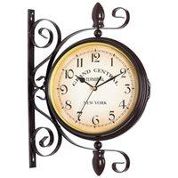 İki Taraflı Metal Duvar Saati Vintage Sessiz Oturma Odası Çift Yüz Saatler Demir Çan Amerikan Duvar İzle Horloge Mural Dekor SC254 A0607