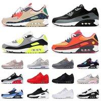 Nike Air Max Airmax 90 90s أحذية ركض نسائية كبيرة الحجم مقاس أمريكي 12 أسود ثلاثي أبيض أخضر وردي يوم الموتى أحذية رياضية للرجال والنساء باللون الرمادي الرائع 36-46 يورو