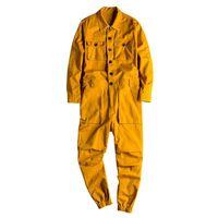 LOOSESCALES LOOSES Jumpse à manches longues Poignée à manches longues Pantalon de cargaison en coton Hip Jauge Vêtements de travail jaune Vêtements de travail