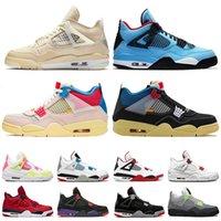 Jumpman 4s Beyaz Travis Basketbol Ayakkabıları Off Union 4 Guava Buz Siyah Kedi Mahkemesi Mor Erkek Kadın Sneakers
