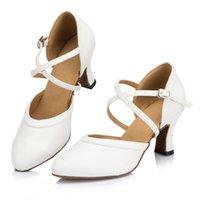 여성용 라틴 댄스 신발 흰색 결혼식 연회 볼룸 탱고 살사 하이힐 전문 스니커즈 210804