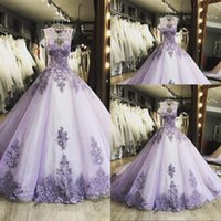 2021 Sexy Lilac Quinceanera Dresses Jewel Neck Lace Appliques Crystal Beaded Illusion Sleeveless Sweet 16 Party Prom Dress Evening Gowns Corset Back Ball Gown