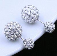Çift Yan Küpe Vintage Sambobil Disko Topu Kulak Takı Beyaz Altın Kaplama Gümüş Kristal Top Bohemian Düğün PS0008