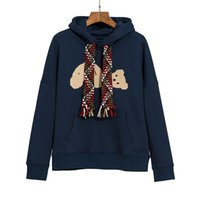 Autumn , winter guillotine bear embroidered streamer hoodie men and women the same thick coat