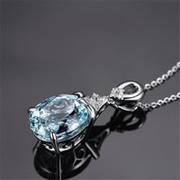 Jewelry Fashion Temperament Simple Crystal Necklace Sea Blue Clavicle Chain Necklaces Wholesale Pendant