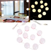 Compact Mirrors 10 Bulbs Makeup Mirror Hollywood Vanity LED Light Dimmable Bulb Adjustable Warm Cold Dressing Table Wall Lamp