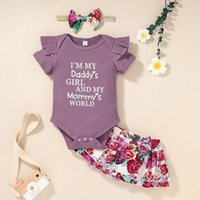 Baby Girls Rib Rompers+Flower Skirts Sets Summer 2021 Children Boutique Clothes 0-2T Infant Toddlers Outdoor 2 PC Clothing Set
