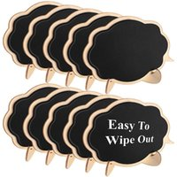 Blackboards -Mini Thicker Black Chalkboards Signs Easy To Wipe Out,10 PCS Wood Small Messag Board Place Cards For Weddings,Partie