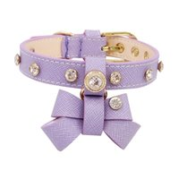 Dog Collars & Leashes High Quality Cat Bowtie Collar Necklace Fashion Designer Diamond Bling Crystal Handmade Genuiner Leather Pet Chain