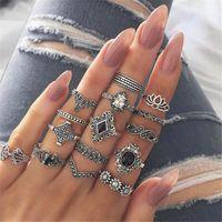 Vigselringar 15st / set Bohemian Flower Set för Kvinnor Vintage Retro Silver Färg Geometrisk Stone Knuckle Crystal