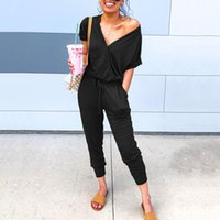 New slim summer sexy jumpsuit women short sleeve rompers overalls jumpsuits solid v-neck black jump suit pocket female clothes