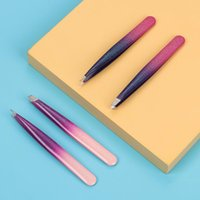 2pcs / set di pinzette per sopracciglia a colori gradiente professionale in acciaio inox obliquo in acciaio inox utensili strumenti di bellezza stencil