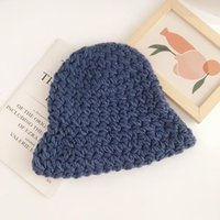 Wide Brim Hats Autumn And Winter Pure Color Thickened Knitted Hat Female All-Match Warm Wool Fashion Artistic Pullover Men