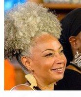 젤 존정 짧은 회색 변태 인간의 머리카락 포니 테일 패션 새로운 회색 머리 조랑말 꼬리 소금과 고추 천연 염료 무료 핫 제품