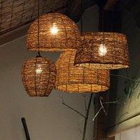 Ручной вязаный ротанга подвесной светильник Япония стиль ZEN подвеска свет кафе чайна столовая бар ручной работы плетеное освещение