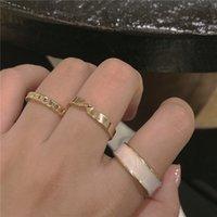 Traje de tres piezas con anillo liso de moda, personalidad ligera y lujosa y viento fresco, anillo de dedo índice ajustable