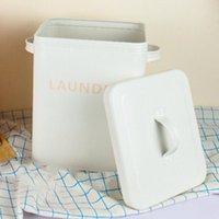 المطبخ الحمام تخزين المنظم الحبوب الأرز حاوية غسل مسحوق مختومة مربع مع ملعقة دلاء بيضاء