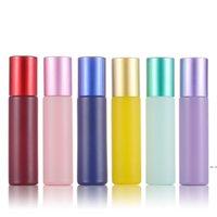 العطور النفط الناشر 10ML زجاجة عطر الزجاج لفة على زجاجة مع الكريستال / الفولاذ المقاوم للصدأ الكرة المعكرون الطباعة اللون HWB5790