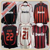 Classici 06 07 07 Retro Milano Soccer Jersey Kaka Ronaldo Gilardino Inzaghi Pirlo Beckham Camiseta 2006 2007 Manica lunga