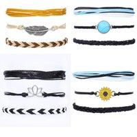 Kimter Boho String Bracelets Women Adjustable Braided Waterproof Beach Anklets for Teen Girls Sunflower Bangle Set Q543FZ