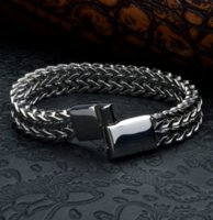 Mens Punk Pulseras Titanium Steel Bracelet Double Carinate Wristbands Bangle Trendy Jewelry Boys Brace lace Promotion 20.5cm ZHL3558
