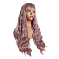 Parrucca lunga ondulata con Air Bangs Silky Full Resistente al calore sintetico per le donne - Macchina naturale Made Made Grigio 26 pollici Parrucca di ricambio per capelli da 26 pollici per il partito Cosplay (rosa)