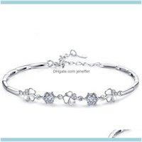 Link, Chain Bracelets Jewelrylink Four Leaf Clover Bracelet For Women Drop Delivery 2021 Scpav