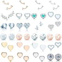 NEW 100% 925 Sterling Silver Blue Heart TIF Attractive Elegance Temperament Earrings World Fit Women Original Fashion Jewelry