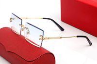 2021 Moda Business Sunglasses Donne Donne Donne Design Design Estate Sfumature colorate Lenti colorate Occhiali da vista Rimless Rettangolo UV400 Occhiali decorativi Sport Sport Frameless