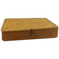 Rattan Aufbewahrungsboxen Handgefertigte Container Schmuckkasten Kosmetischer Organizer mit Deckel-Seegras-Gehäusekörbe