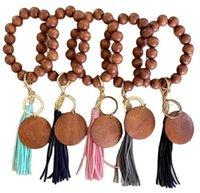Wooden Bracelet Keychain with Tassels Key DIY Wood Fiber Pandent Bead Bangle Keyrings Fashion Accessories