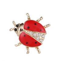 Creatieve persoonlijkheid gouden kristallen lieveheersbeestje broche mode-sieraden vakantie feest decoratie geschenken handig en praktisch