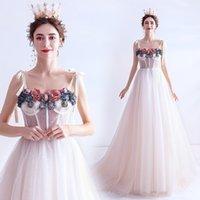 Spaghetti Art Deco-inspired Neck Flower A-Line Wedding Dress Lace Tulle Vintage Fancy Princess Dresses 3D-Floral Appliques Bride Gowns