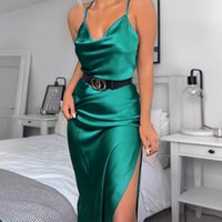 Casual Dresses Sundresses Women Satin Dress Green Vestido Fiesta Copy Silk Midi Slip Jurk Elegant Black Robe Blue Sexy Off Shoulder Ropa