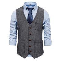 Men's Vests Suit Vest Notched Plaid Wool Herringbone Tweed Waistcoat Casual Formal Business Groomman For Wedding