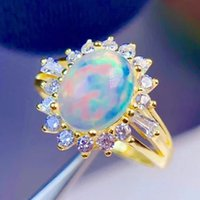 Big Fire Opal Finger Rings With Side Stones Women Female White Diamond Wedding Ring Fashion Jewelry Accessories Dropshipping