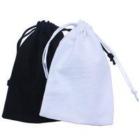 (50pcs / lot) Sac de cordon de coton noir recycler la pochette de poussière de coton blanc Personnaliser la taille et 210326