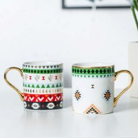 Kitchen Dining Dog Apparel Golden handle Ceramic Creative Mug Coffee European Luxury Water Cup Afternoon TeaCup Tea Set Pair Cups Gift